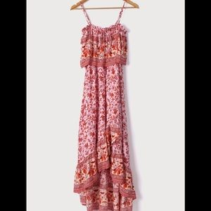 NWT Lulu's Pink Multi Print Ruffled Maxi Dress